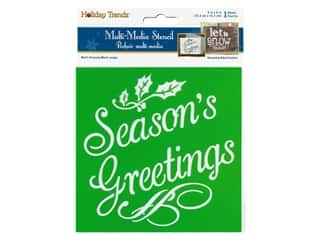 craft & hobbies: Multicraft Craft Decor Stencil 6 in. x 6 in. Holiday Seasons Greeting