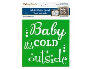 craft & hobbies: Multicraft Craft Decor Stencil 6 in. x 6 in. Holiday Baby Its Cold