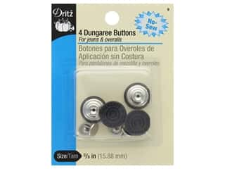 Dritz No Sew Dungaree Buttons - Copper 4 pc.