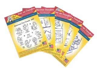 Aunt Martha's Hot Iron Transfers Red Assortment - Days of the Week Tea Towels