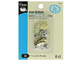 Dritz Jean Buttons 6 pc. Gilt