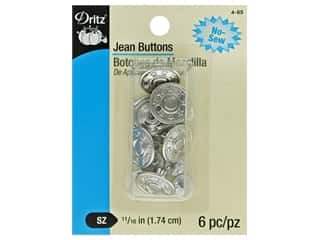 Dritz Jean Buttons 6 pc. Nickel