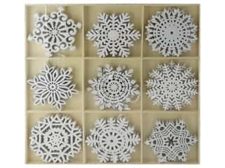 novelties: Sierra Pacific Ornaments Glittered Snowflakes In Tray 9 Styles