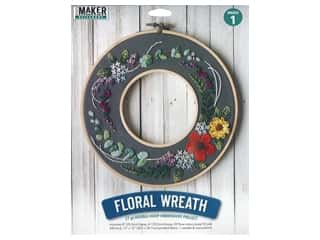 projects & kits: Leisure Arts Kit Mini Maker Embroidery 8 in. Floral Wreath