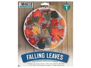 Leisure Arts Mini Maker Stitchery Kit 6 in. Falling Leaves Organza Embroidery