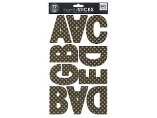 Me & My Big Ideas Sticks Alphabet Stickers Ava Glitter Dots Black/Gold