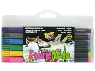 FabricMate Fabric Markers Brush Tip Standard Barrel Set Tropical 6 pc.