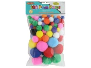 Creative Arts Pom Poms Assorted 100 pc