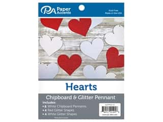 scrapbooking & paper crafts: Paper Accents Chipboard Pennants Glitter Hearts 5 in. White/Red/White 16 pc