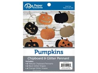 scrapbooking & paper crafts: Paper Accents Chipboard Pennants Glitter Pumpkins 5 in. Natural/Orange/Black 16 pc
