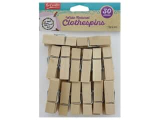 Leisure Arts Clothespins Wood Wide Natural 30 pc