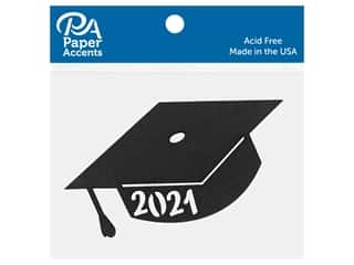 scrapbooking & paper crafts: Paper Accents Chip Shape Graduation Cap 2021 Black 8 pc