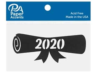 scrapbooking & paper crafts: Paper Accents Chip Shape Diploma 2020 Black 8 pc