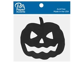 scrapbooking & paper crafts: Paper Accents Chip Shape Large Jack-O-Lantern Black 6 pc
