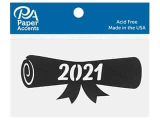 scrapbooking & paper crafts: Paper Accents Chip Shape Diploma 2021 Black 8 pc
