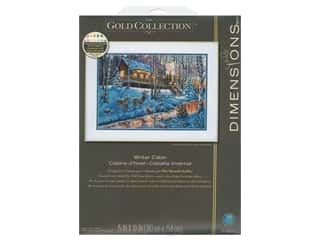projects & kits: Dimensions Counted Cross Stitch Kit 15 x 10 in. Winter Cabin
