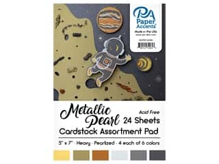Paper Accents 5 x 7 in. Cardstock Pad 24 pc. Pearlized Metallics