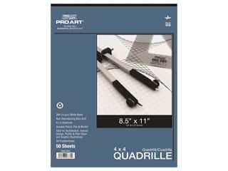 Pro Art Paper Quadrille Pad 4 x 4 Grid/Inch 8.5 in. x 11 in. 50 pc
