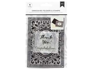 American Crafts Embossing Folder & Stamp Set Congratulations