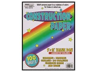 scrapbooking & paper crafts: Pro Art Construction Paper 9 in. x 12 in. Assorted 100 pc