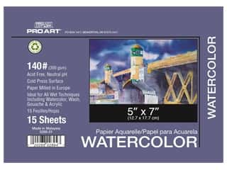 Pro Art Watercolor Paper Block 5 x 7 in. 140 lb. 15 Sheets
