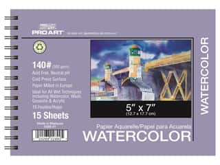 Pro Art Watercolor Paper Pad 5 x 7 in. 140 lb. 15 Sheet Spiral