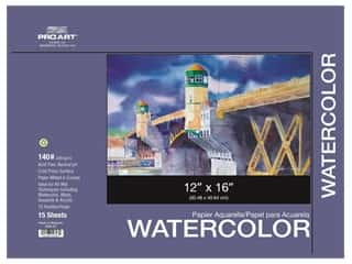 Pro Art Watercolor Paper Block 12 x 16 in. 140 lb. 15 Sheets