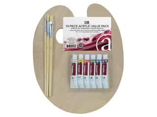 Art Advantage Paint Set Mini Acrylic Paint With Brushes & Wood Palette 9.5 in. x 11.5 in.