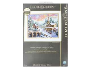 yarn & needlework: Dimensions Cross Stitch Kit Gold Collection 16 in. x 12 in. Holiday Village