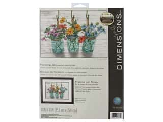 yarn & needlework: Dimensions Cross Stitch Kit 14 in. x 10 in. Flowering Jars
