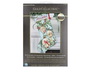 yarn & needlework: Dimensions Cross Stitch Kit Gold Collection Stocking Enchanted Ornaments