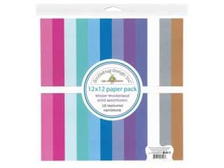 scrapbooking & paper crafts: Doodlebug Collection Winter Wonderland Paper Pack 12 in. x 12 in. Solid