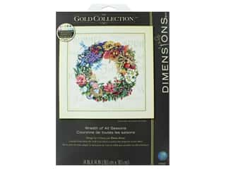 yarn & needlework: Dimensions Cross Stitch Kit Gold Collection 14 in. x 14 in. Wreath Of All Seasons
