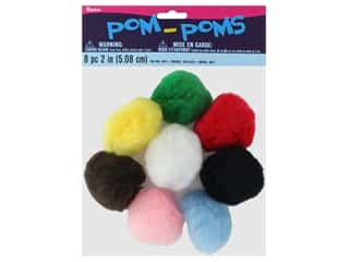 craft & hobbies: Darice Pom Poms 2 in. (50 mm) Multicolor 8 pc.