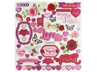 scrapbooking & paper crafts: Bo Bunny Collection Count The Ways Sticker 12 in. x 12 in. Chipboard