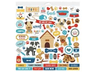 "scrapbooking & paper crafts: Echo Park Collection I Love My Dog Sticker 12""x 12"" Elements (15 pieces)"