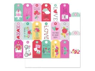 "Doodlebug Collection Love Notes Paper 12""x 12"" Kissing Tag (25 pieces)"