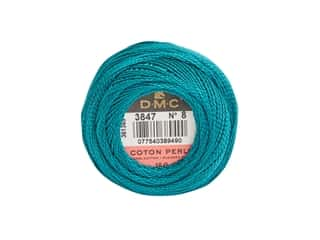 yarn & needlework: DMC Pearl Cotton Ball Size 8 #3847 Teal Green (10 yards)