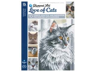 beading & jewelry making supplies: Diamond Art By Leisure Arts Freestyle Diamond Dotting Love of Cats Painting Charts & Idea Book