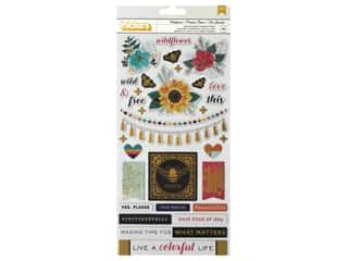American Crafts Collection Vicki Boutin Wildflower & Honey Thickers Sticker Alpha Gold Foil