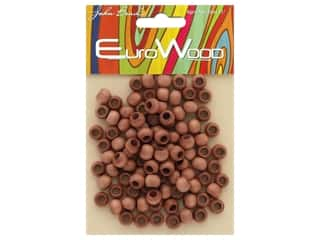John Bead Wood Bead Round Large Hole 8 mm x 6.5 mm Light Brown