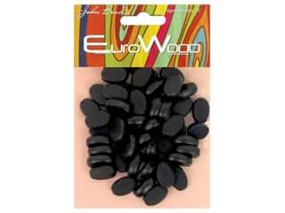 John Bead Wood Bead Flat Oval 10 mm x 15 mm Black
