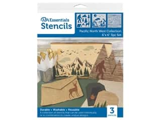 "craft & hobbies: PA Essentials Stencil 6""x 6"" Pacific North West Collection 3pc"