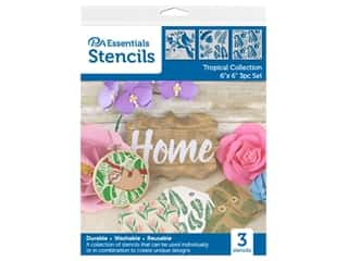 craft & hobbies: PA Essentials Stencil 6 in. x 6 in. Tropical Collection 3 pc