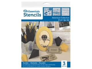 craft & hobbies: PA Essentials Stencil 6 in. x 6 in. Adventure Collection 3 pc