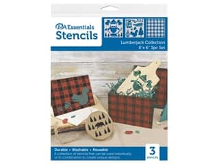 craft & hobbies: PA Essentials Stencil 6 in. x 6 in. Lumberjack Collection 3 pc