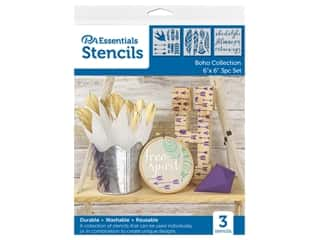 craft & hobbies: PA Essentials Stencil 6 in. x 6 in. Boho Collection 3 pc
