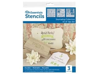 craft & hobbies: PA Essentials Stencil 6 in. x 6 in. Journaling Collection 3 pc