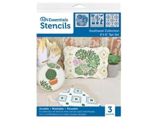 craft & hobbies: PA Essentials Stencil 6 in. x 6 in. Southwest Collection 3 pc