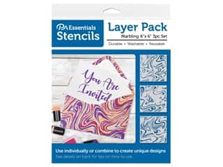 craft & hobbies: PA Essentials Stencil 6 in. x 6 in. Layer Pack Marbling 3 pc